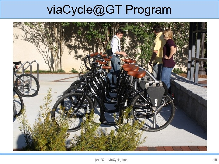 via. Cycle@GT Program (c) 2011 via. Cycle, Inc. 10