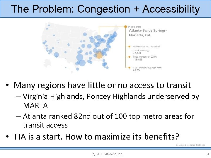 The Problem: Congestion + Accessibility • Many regions have little or no access to
