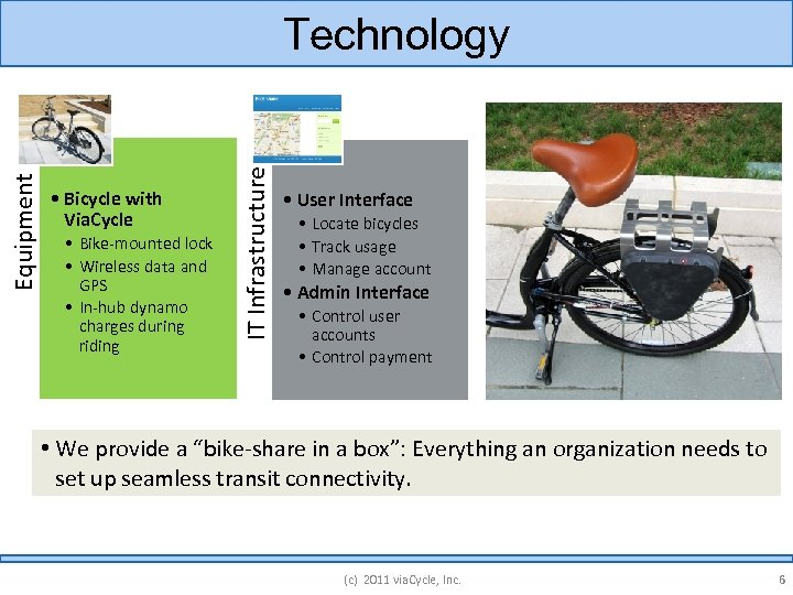 • Bicycle with Via. Cycle • Bike-mounted lock • Wireless data and GPS