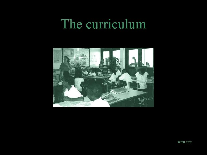 The curriculum © IBO 2002