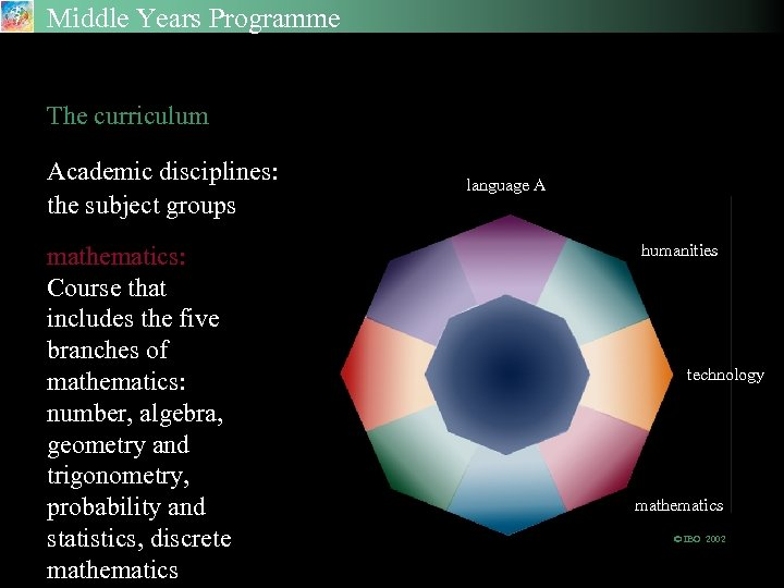 Middle Years Programme The Academic Disciplines The curriculum Academic disciplines: the subject groups mathematics: