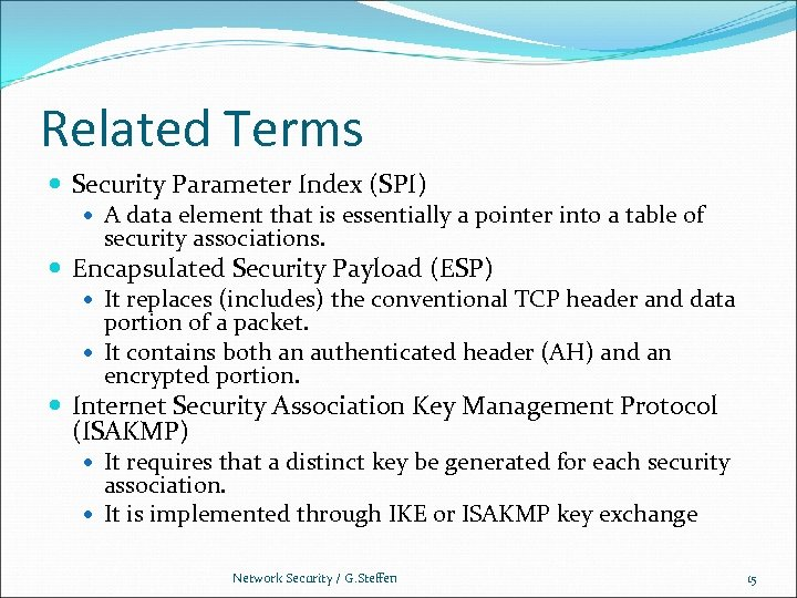 Related Terms Security Parameter Index (SPI) A data element that is essentially a pointer