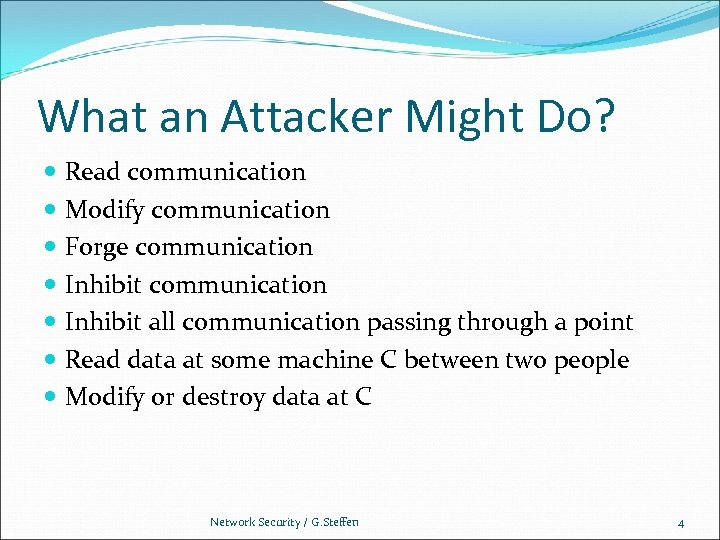 What an Attacker Might Do? Read communication Modify communication Forge communication Inhibit all communication