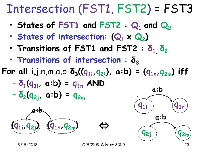 Intersection (FST 1, FST 2) = FST 3 • States of FST 1 and