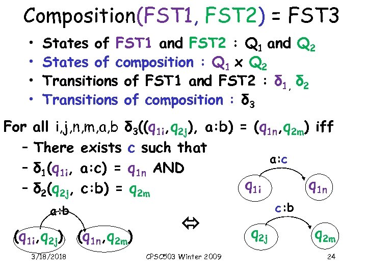 Composition(FST 1, FST 2) = FST 3 • • For – – – States
