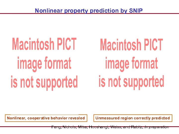 Nonlinear property prediction by SNIP Nonlinear, cooperative behavior revealed Unmeasured region correctly predicted Feng,