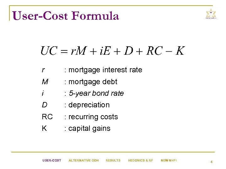 User-Cost Formula r : mortgage interest rate M : mortgage debt i : 5
