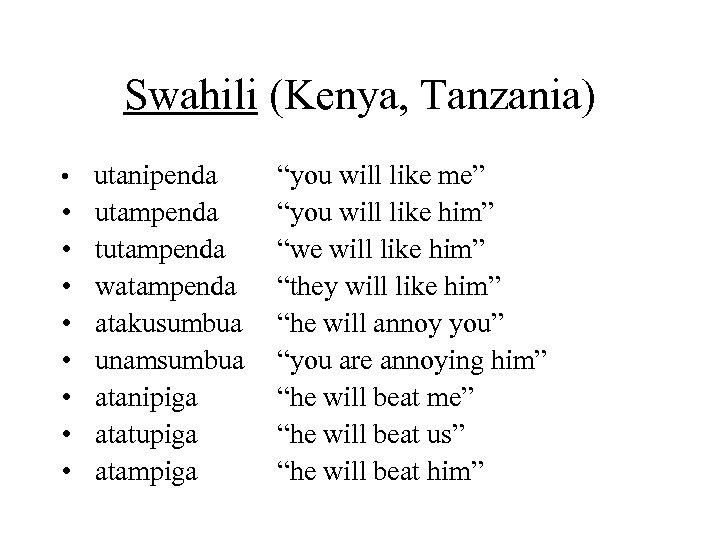 Swahili (Kenya, Tanzania) • utanipenda • • utampenda tutampenda watampenda atakusumbua unamsumbua atanipiga atatupiga