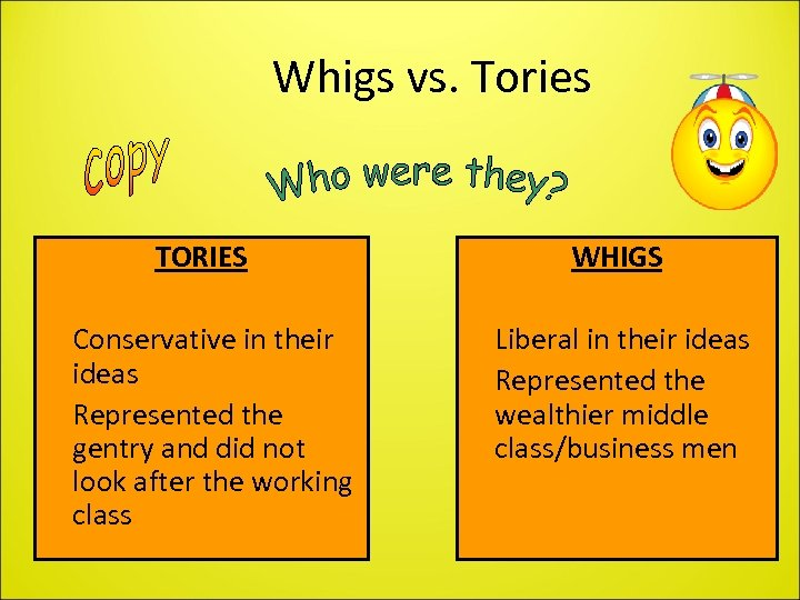 Whigs vs. Tories TORIES • Conservative in their ideas • Represented the gentry and