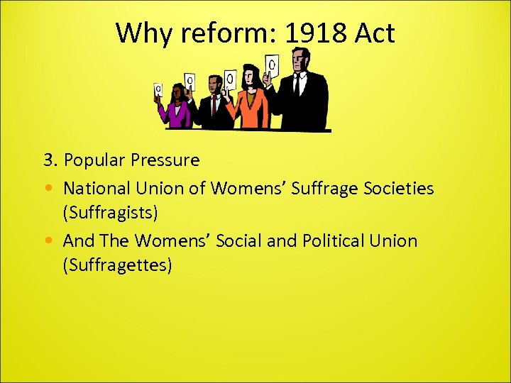 Why reform: 1918 Act 3. Popular Pressure • National Union of Womens' Suffrage Societies
