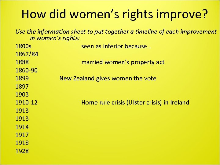 How did women's rights improve? Use the information sheet to put together a timeline