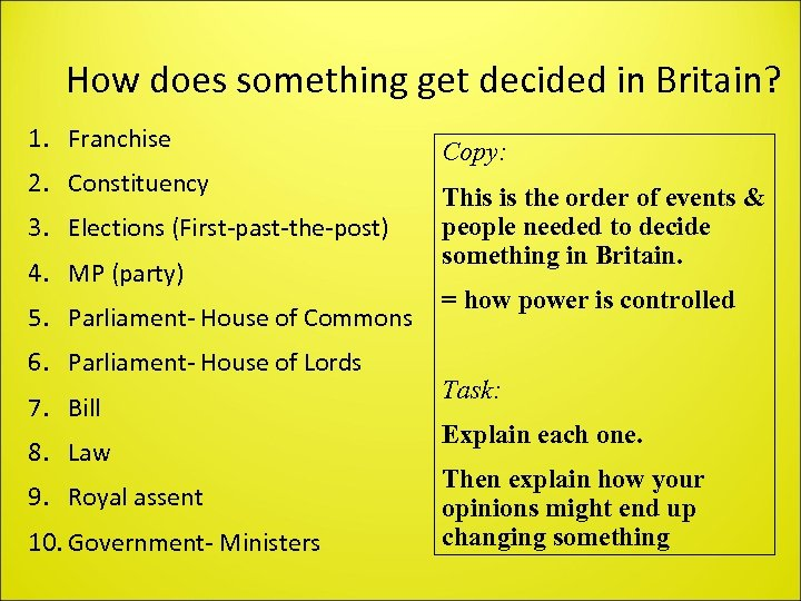 How does something get decided in Britain? 1. Franchise 2. Constituency 3. Elections (First-past-the-post)