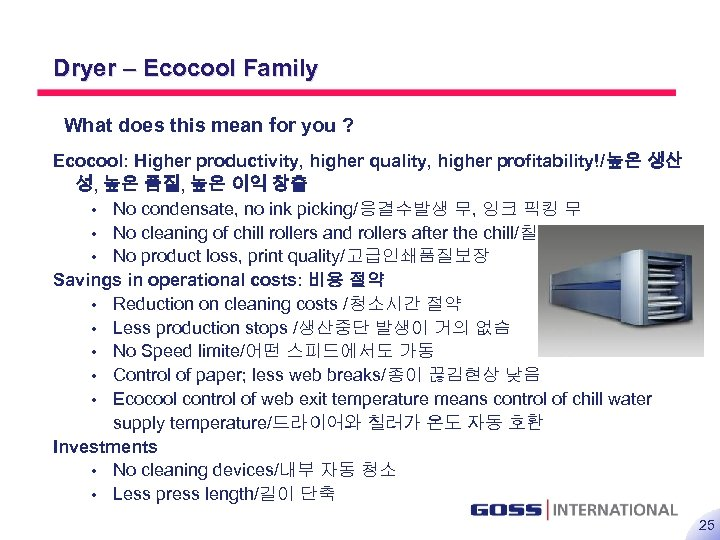 25 Dryer – Ecocool Family What does this mean for you ? Ecocool: Higher