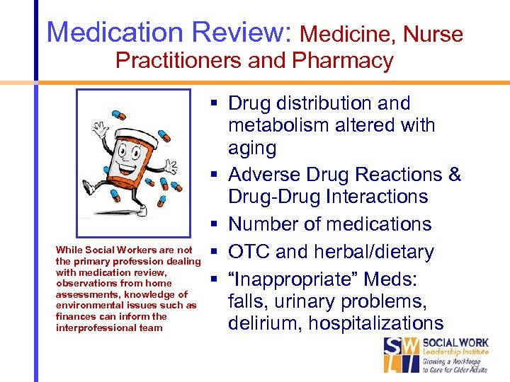 Medication Review: Medicine, Nurse Practitioners and Pharmacy While Social Workers are not the primary