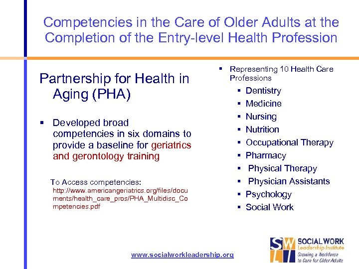 Competencies in the Care of Older Adults at the Completion of the Entry-level Health
