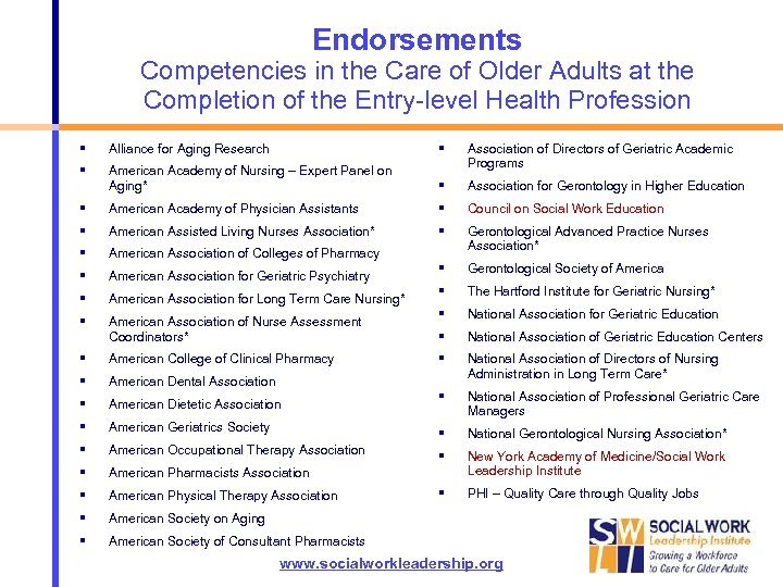 Endorsements Competencies in the Care of Older Adults at the Completion of the Entry-level