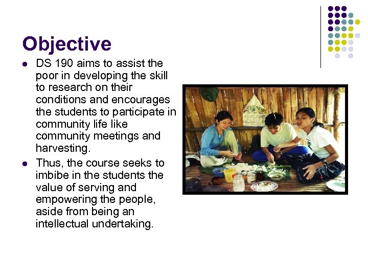 Objective l l DS 190 aims to assist the poor in developing the skill