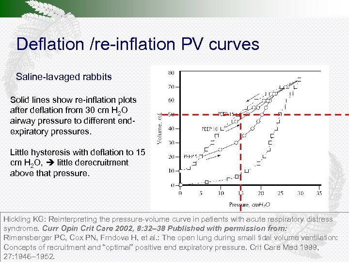 Deflation /re-inflation PV curves Saline-lavaged rabbits Solid lines show re-inflation plots after deflation from