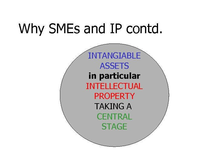 Why SMEs and IP contd. INTANGIABLE ASSETS in particular INTELLECTUAL PROPERTY TAKING A CENTRAL