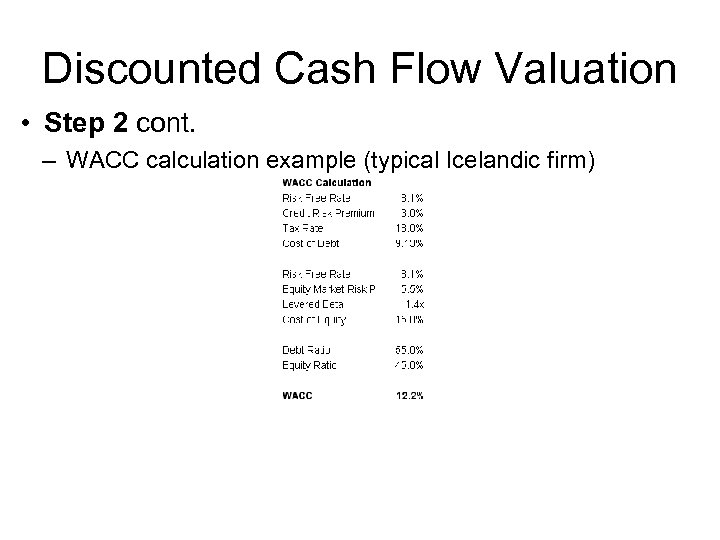 Discounted Cash Flow Valuation • Step 2 cont. – WACC calculation example (typical Icelandic