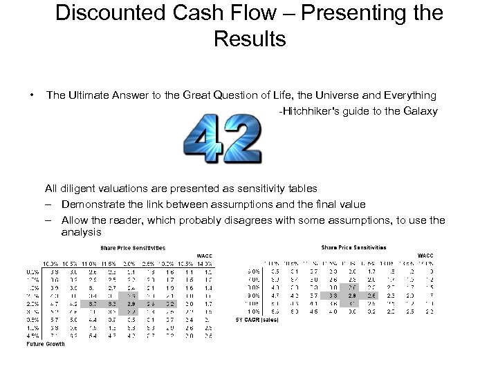 Discounted Cash Flow – Presenting the Results • The Ultimate Answer to the Great