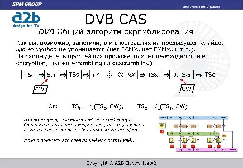 DVB CAS DVB Общий алгоритм скремблирования Как вы, возможно, заметили, в иллюстрациях на предыдущем