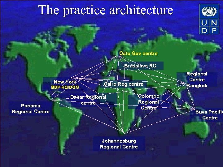 The practice architecture Oslo Gov centre Bratislava RC New York BDP HQ/DGG Panama Regional