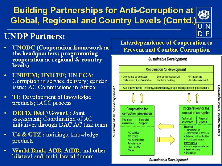 Building Partnerships for Anti-Corruption at Global, Regional and Country Levels (Contd. ) UNDP Partners: