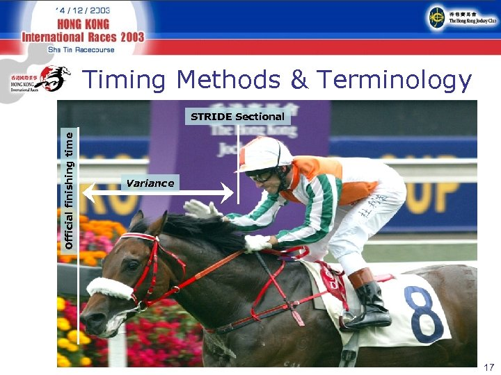 Timing Methods & Terminology Official finishing time STRIDE Sectional Variance 17