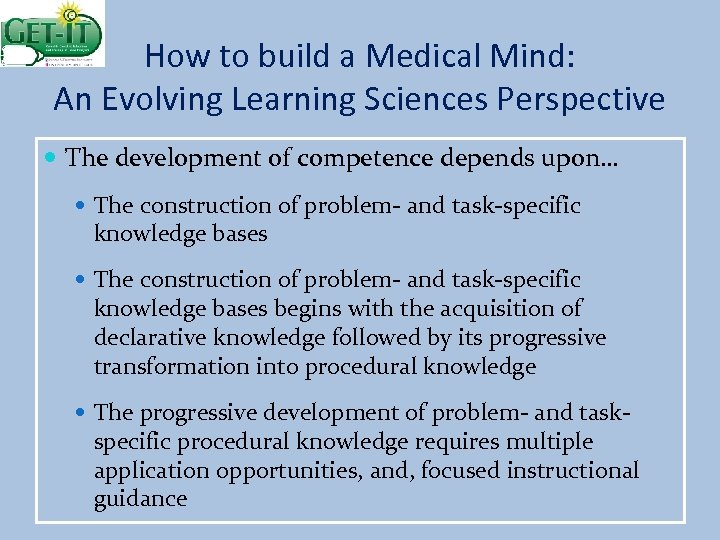 How to build a Medical Mind: An Evolving Learning Sciences Perspective The development of