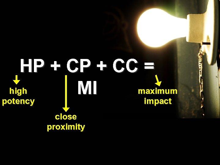 HP + CC = high maximum MI potency impact close proximity
