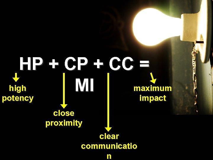HP + CC = high maximum MI potency impact close proximity clear communicatio n