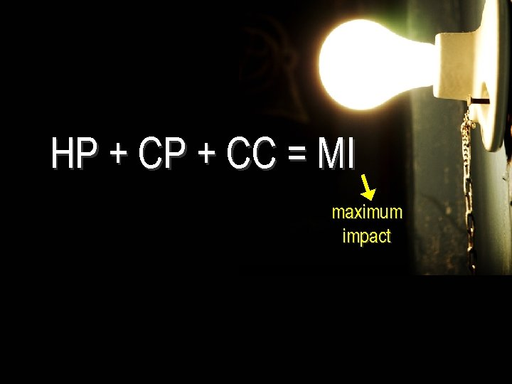 HP + CC = MI maximum impact