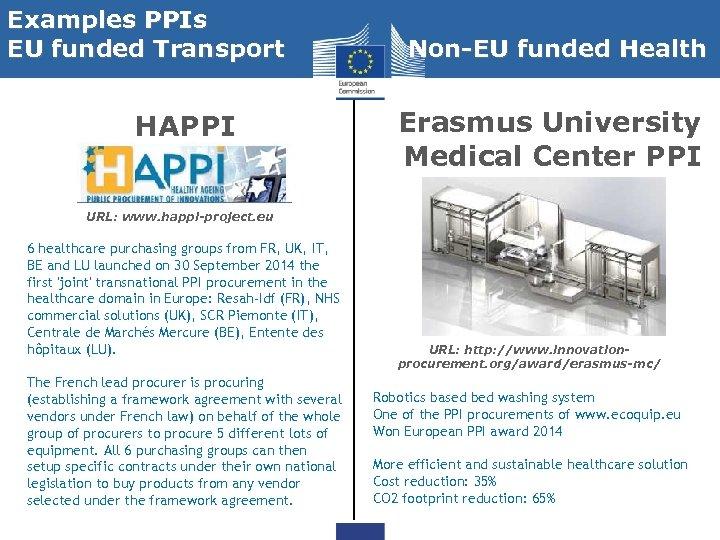 Examples PPIs EU funded Transport HAPPI Non-EU funded Health Erasmus University Medical Center PPI