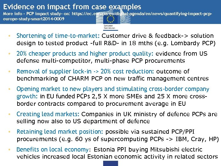 Evidence on impact from case examples More info - PCP impact study- on: https: