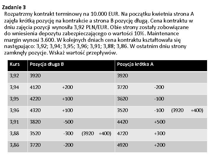 Zadanie 3 Rozpatrzmy kontrakt terminowy na 10. 000 EUR. Na początku kwietnia strona A