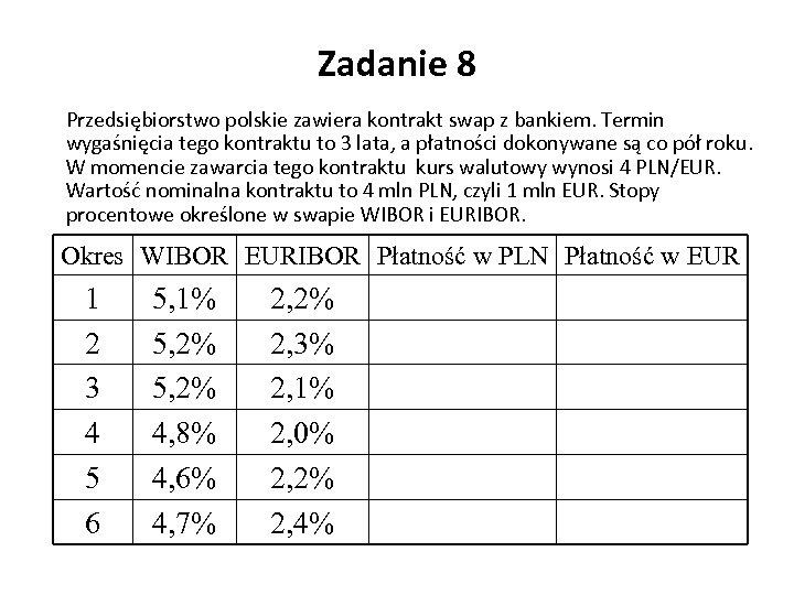 Zadanie 8 Przedsiębiorstwo polskie zawiera kontrakt swap z bankiem. Termin wygaśnięcia tego kontraktu to
