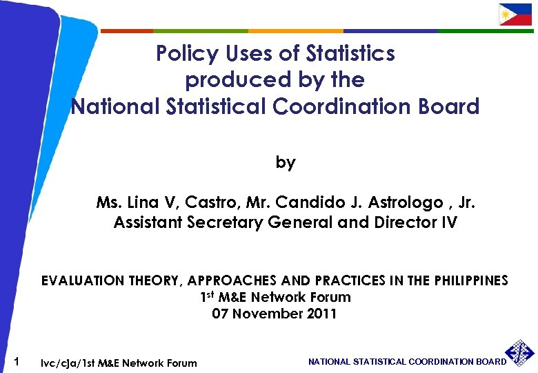Policy Uses of Statistics produced by the National Statistical Coordination Board by Ms. Lina