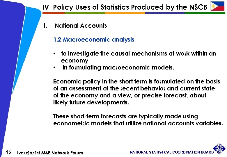 IV. Policy Uses of Statistics Produced by the NSCB 1. National Accounts 1. 2
