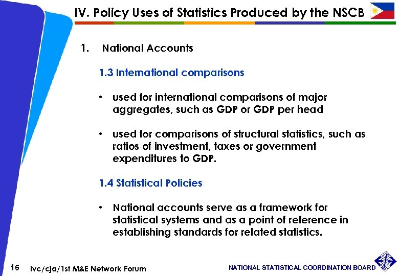 IV. Policy Uses of Statistics Produced by the NSCB 1. National Accounts 1. 3