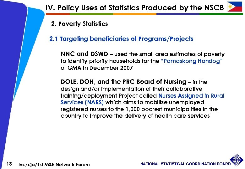 IV. Policy Uses of Statistics Produced by the NSCB 2. Poverty Statistics 2. 1