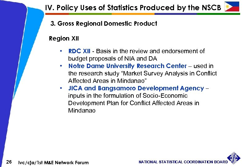 IV. Policy Uses of Statistics Produced by the NSCB 3. Gross Regional Domestic Product