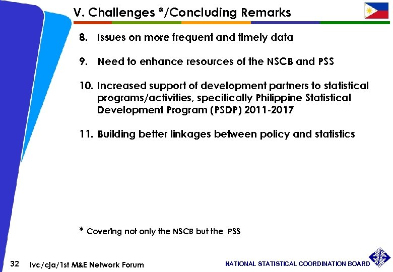 V. Challenges */Concluding Remarks 8. Issues on more frequent and timely data 9. Need