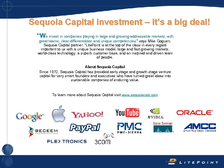 """Sequoia Capital investment – it's a big deal! """"We invest in companies playing in"""