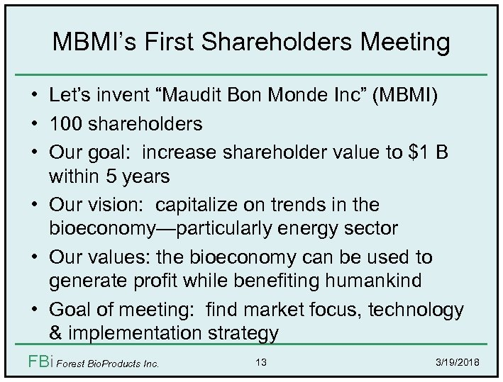 "MBMI's First Shareholders Meeting • Let's invent ""Maudit Bon Monde Inc"" (MBMI) • 100"