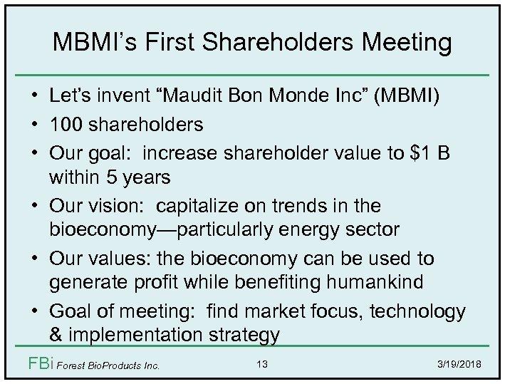 "MBMI's First Shareholders Meeting • Let's invent ""Maudit Bon Monde Inc"" (MBMI) • 100"
