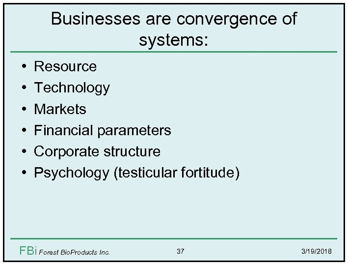 Businesses are convergence of systems: • • • Resource Technology Markets Financial parameters Corporate