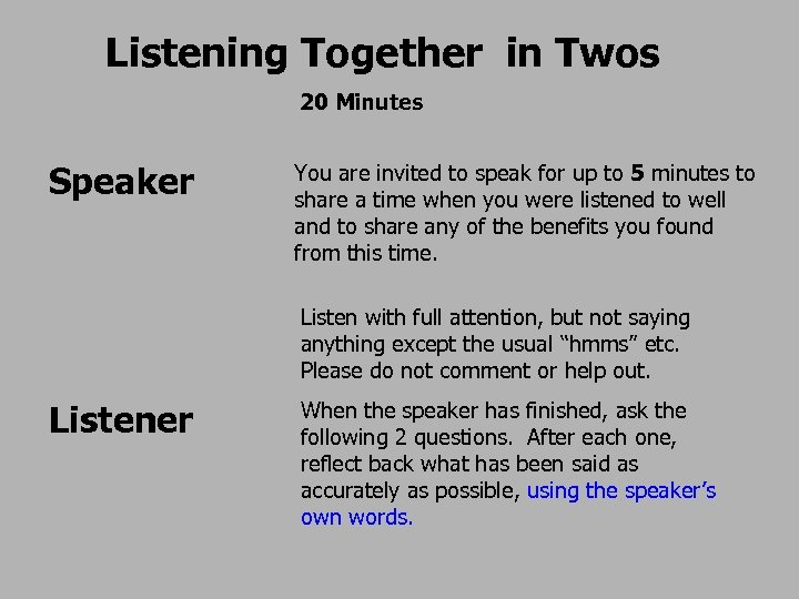 Listening Together in Twos 20 Minutes Speaker You are invited to speak for up