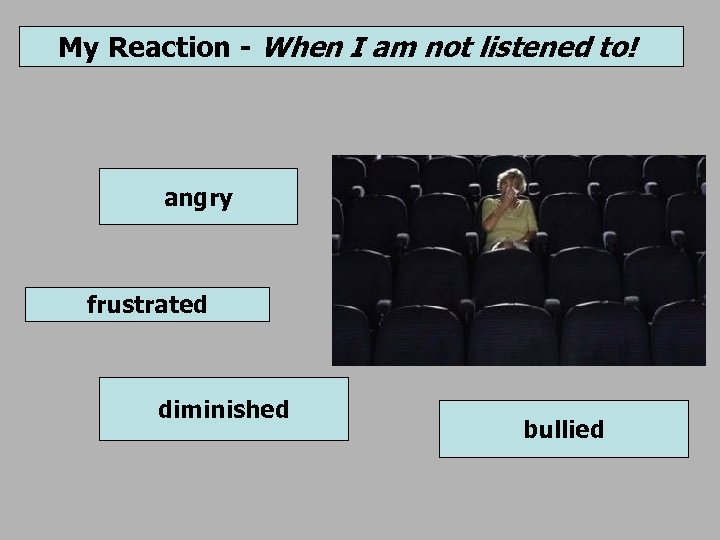 My Reaction - When I am not listened to! angry frustrated diminished bullied