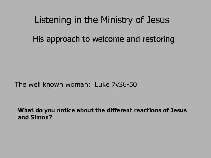 Listening in the Ministry of Jesus His approach to welcome and restoring The well